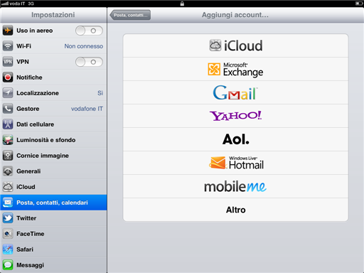 iPad - Email - Aggiungi Account