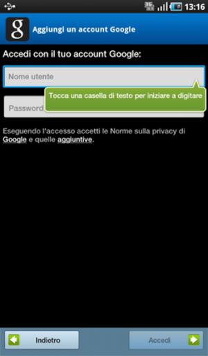Galaxy Tab - Accedi Account Google